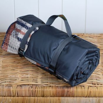 WATERPROOF Backed All Wool Eco-Friendly Picnic Rug / Blanket Multi Check Grey
