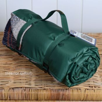 WATERPROOF Backed All Wool Eco-Friendly Picnic Rug / Blanket Multi Check Green