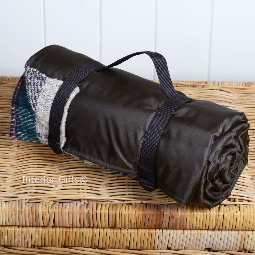 Waterproof Backed All Wool Eco Friendly Picnic Rug Blanket Multi Check Brown