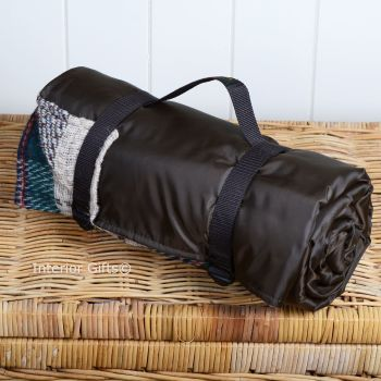 WATERPROOF Backed All Wool Eco-Friendly Picnic Rug / Blanket Multi Check Brown