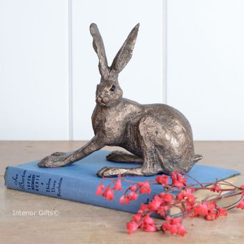 Crouching Hare Frith Bronze Sculpture by Paul Jenkins