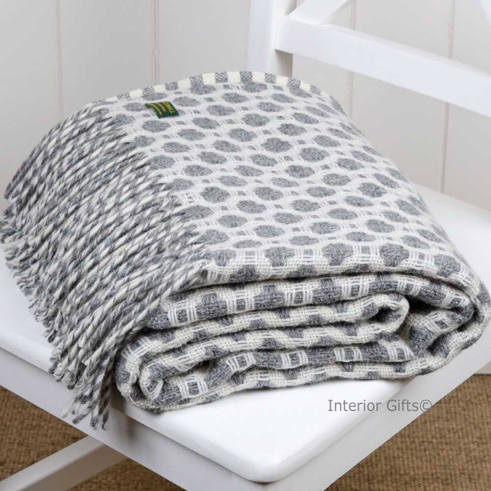 Tweedmill Crossweave Grey & Chalk White Pure New Wool Throw