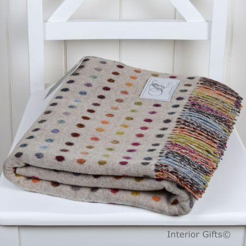 BRONTE by Moon Beige Multi Spot Throw in supersoft Merino Lambswool