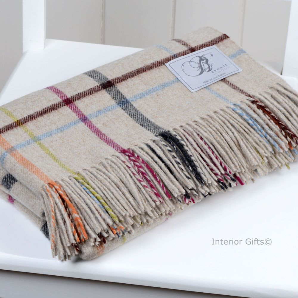 BRONTE by Moon Beige Multi Windowpane Throw in supersoft Merino Lambswool