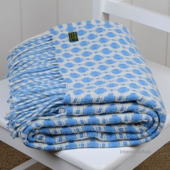 Tweedmill Crossweave Sea Blue & Chalk White Pure New Wool Throw Blanket