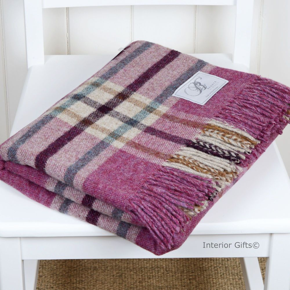 BRONTE by Moon Arncliffe Berry Check Throw in 100% Shetland Pure New Wool