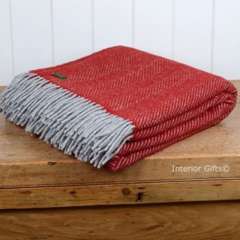 Tweedmill Deep Red & Charcoal Herringbone Pure New Wool Throw Blanket
