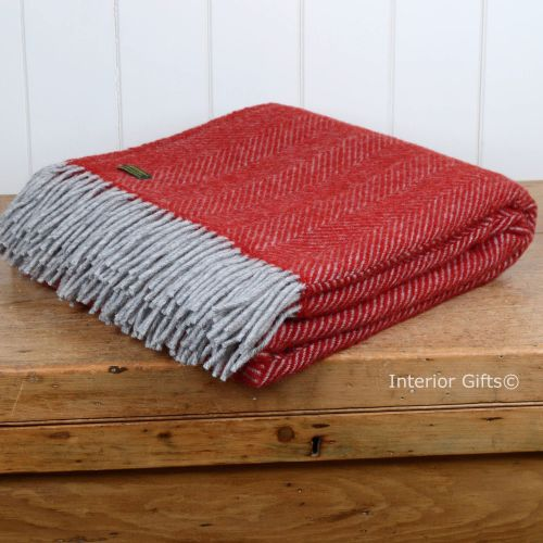 Tweedmill Deep Red & Charcoal Herringbone Pure New Wool Throw