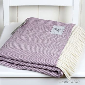 BRONTE by Moon Lilac Pink Variegated Herringbone Throw in supersoft Merino Lambswool