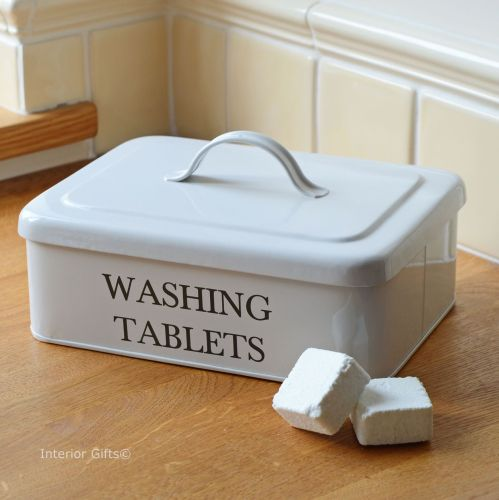 Washing Tablets Storage Box or Tin in Enamel with powder coated