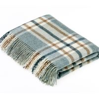 BRONTE by Moon Arncliffe Aqua Blue Throw in 100% Shetland Pure New Wool