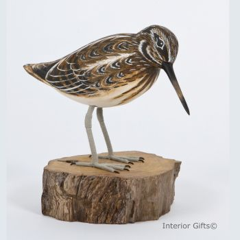 Archipelago Jack Snipe on Aged Natural Wooden Base, Bird Wood Carving