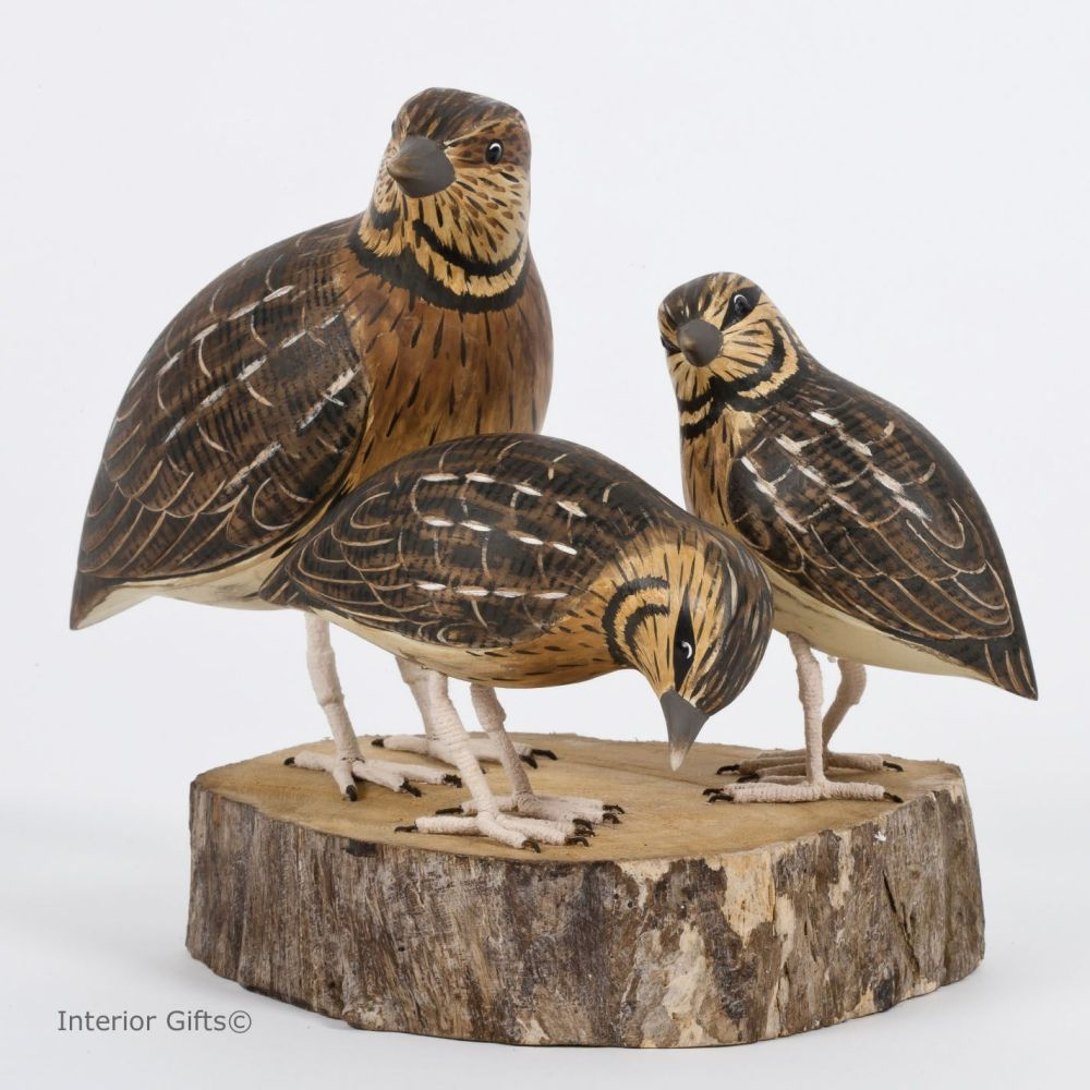 Archipelago Quail Block on Driftwood, Bird Wood Carving