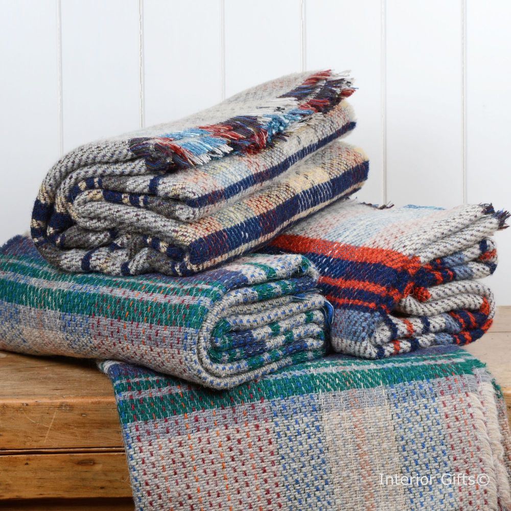 Woollen Recycled LARGE Throw / Blanket / Picnic Rug in Random Colours