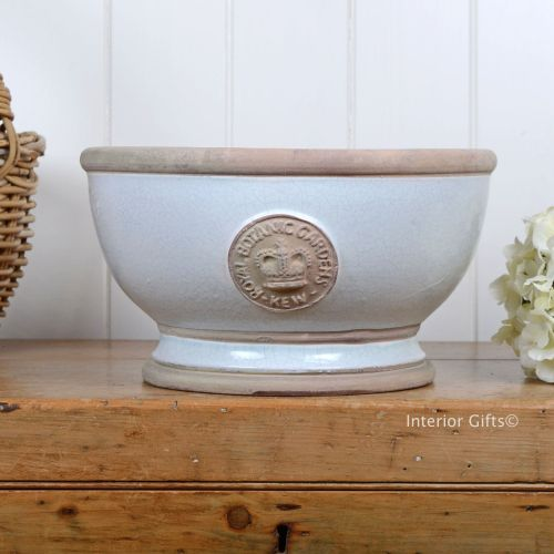 Kew Footed Bowl in Duck Egg Blue - Royal Botanic Gardens Plant Pot - Large