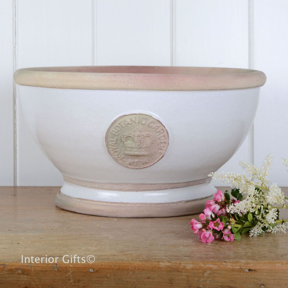 Kew Footed Bowl in Bone White - Royal Botanic Gardens Plant Pot - Large