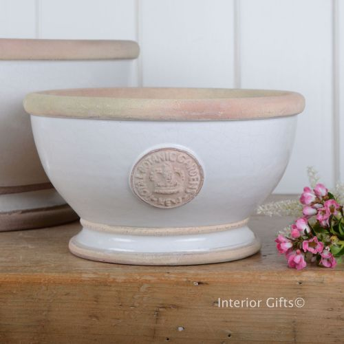 Kew Footed Bowl in Bone White - Royal Botanic Gardens Plant Pot - Small