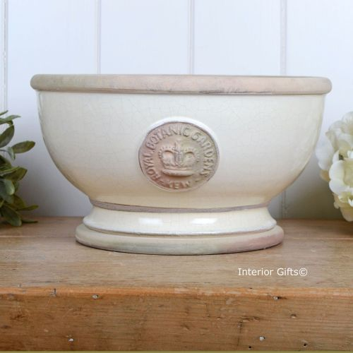 Kew Footed Bowl in Ivory Cream - Royal Botanic Gardens Plant Pot - Large