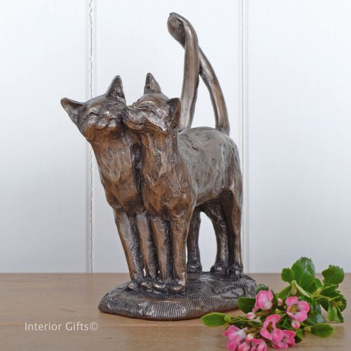 Two's Company Bronze Cat Frith Sculpture by Paul Jenkins