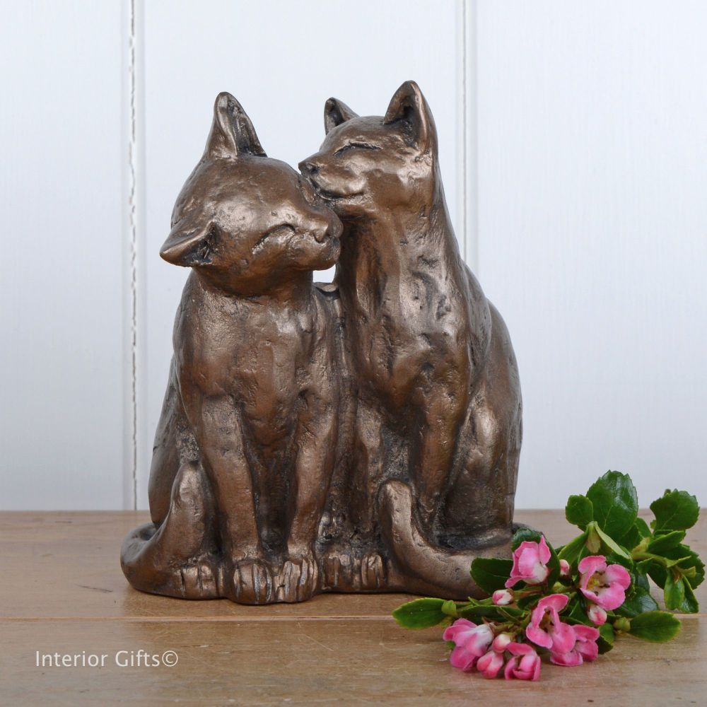 Yum Yum and Friend Bronze Cat Frith Sculpture by Paul Jenkins