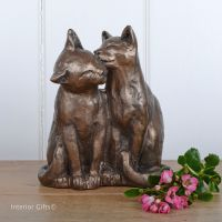 Yum Yum and Friend - Sitting Cat Frith Bronze Sculpture by Paul Jenkins