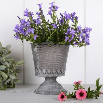 Aged Zinc Mesh Footed Planter