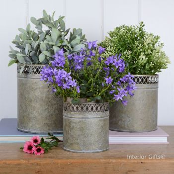 Aged Zinc Metal Planters - Set of Three