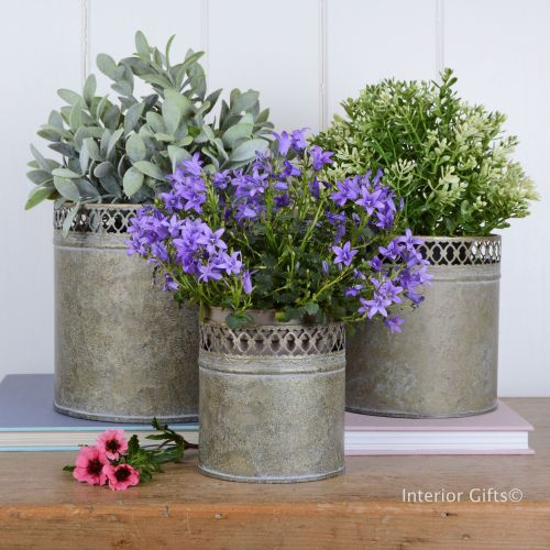 Set of Three Zinc Aged Metal Planters
