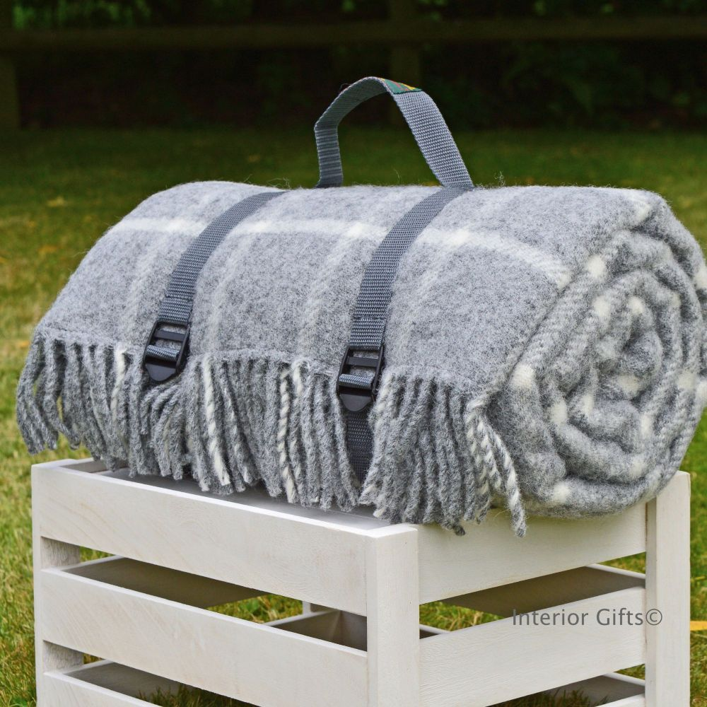 Waterproof Backed Wool Picnic Rug Blanket In Clic Grey Check With Practical Carry Strap