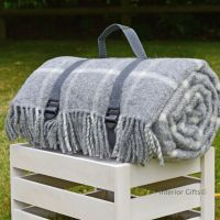 WATERPROOF Backed Wool Picnic Rug / Blanket in Classic Grey Check with Practical Carry Strap