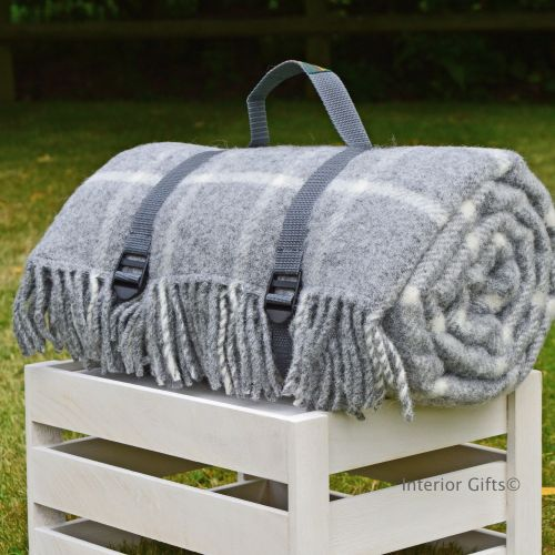 WATERPROOF Backed Wool Picnic Rug / Blanket in Classic Grey Check with Prac