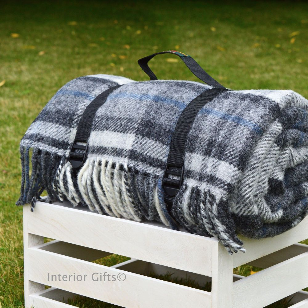 Waterproof Backed Wool Picnic Rug Blanket In Country Grey Check With Practical Carry Strap