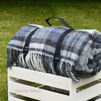 WATERPROOF Backed Wool Picnic Rug / Blanket in Country Grey Check with Practical Carry Strap.
