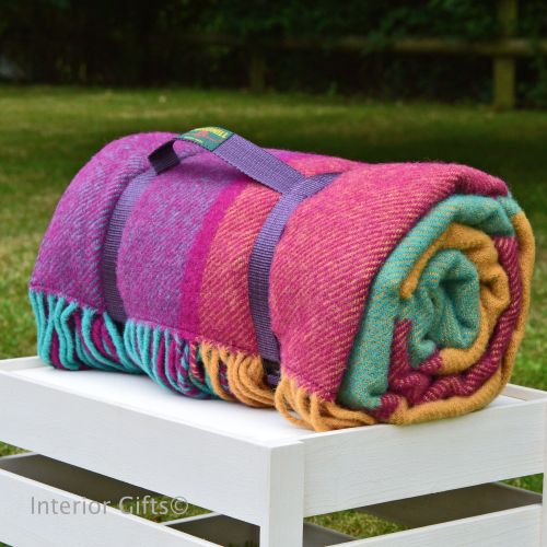 WATERPROOF Backed Wool Picnic DESIGNER Rug / Blanket in Multi Block Check w