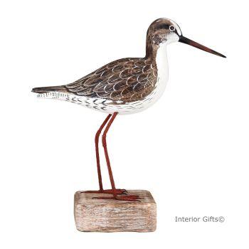 Archipelago Redshank Standing Straight Bird Wood Carving