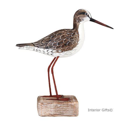 Archipelago Redshank Standing Straight on Driftwood, Bird Wood Carving