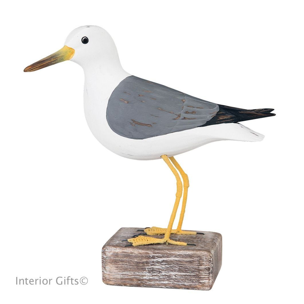 Archipelago Common Gull Standing on Driftwood, Bird Wood Carving - Seagull