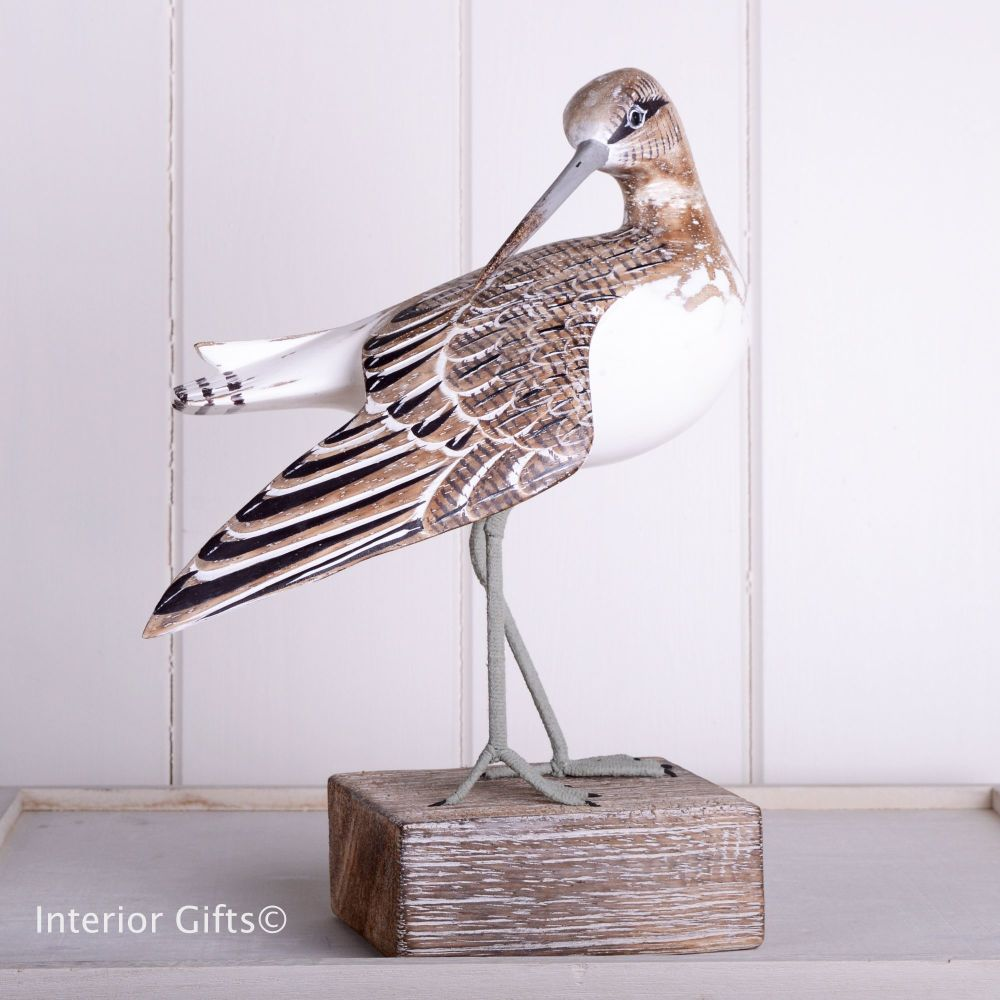 Archipelago Sandpiper Preening Bird Wood Carving