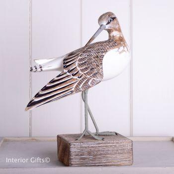 Archipelago Sandpiper Preening Bird Wood Carving