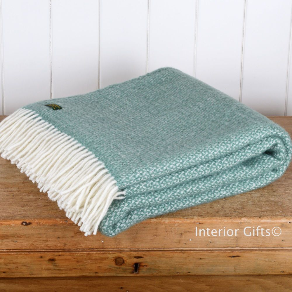 Tweedmill Sea Green Ascot Pure New Wool Throw