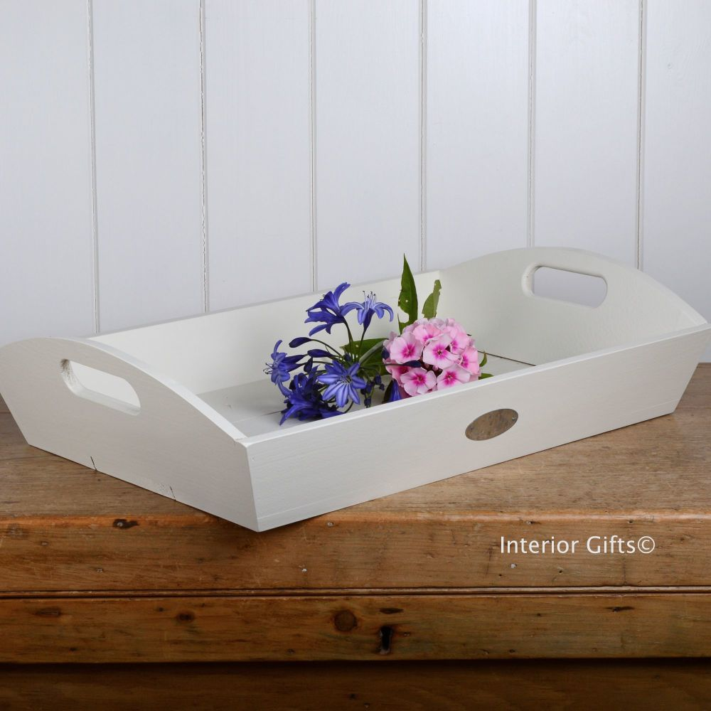 Cream White Painted Wooden Serving Tray With Handles For