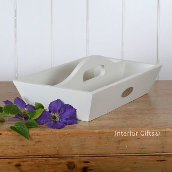 Chalk White Painted Tidy Tray with Handle - Indoor or Outdoor use.