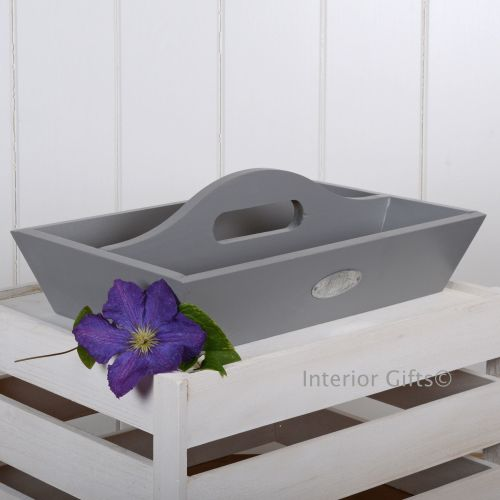 Grey Painted Tidy Tray with Handle - Indoor or Outdoor use.