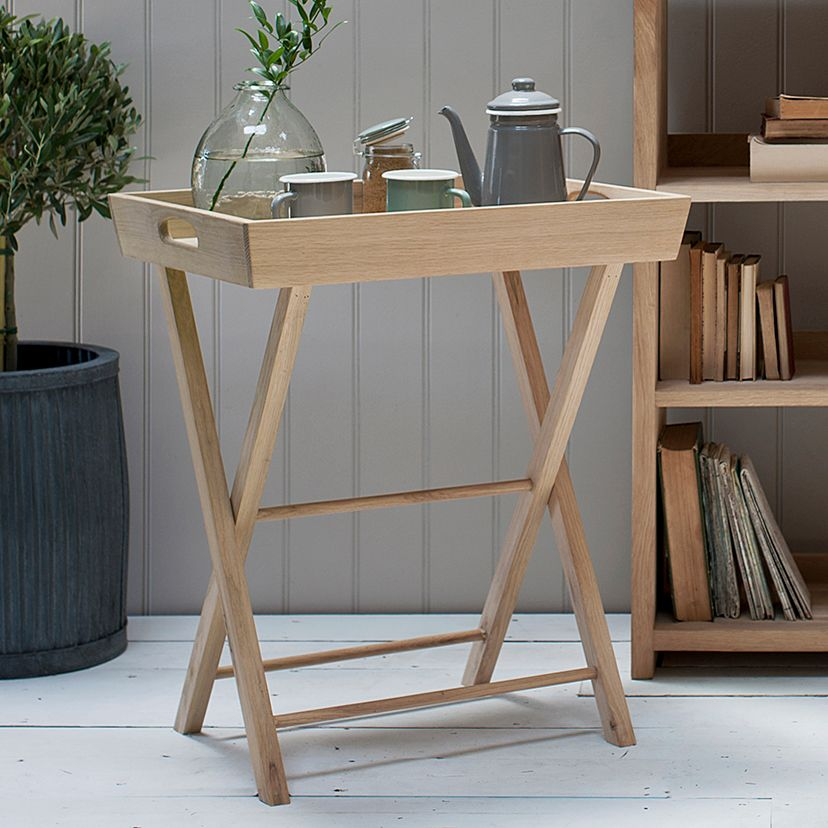 Butlers Tray in Raw Oak with Removable Top