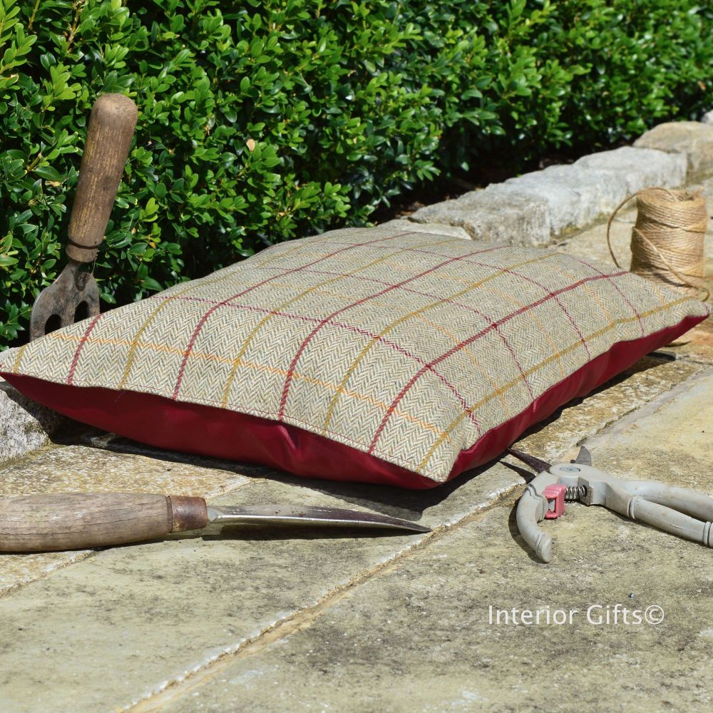 Garden Kneeler / Outdoor Cushion - Classic Tweed with Waterproof Backing