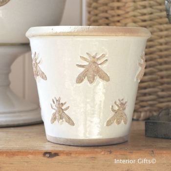 Rustic Bee Embossed Plant Pot Handmade in Antique Ivory Cream