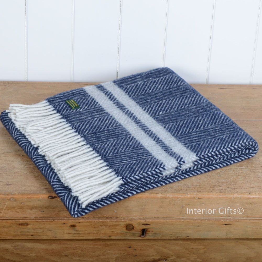 Tweedmill Knee Rug or Small Travel Rug in Navy Blue & Grey Fishbone Pure Ne