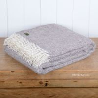 Tweedmill Natural Beige Ascot Pure New Wool Throw Blanket