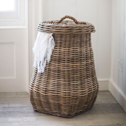 Bembridge laundry basket in rattan tapered style with lid garden trading for household clothes - Rattan laundry basket with lid ...