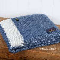 Tweedmill Slate Blue Ascot Pure New Wool Throw Blanket